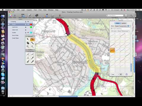 Drawing road curves and junctions with ortelius map for Map drawing program