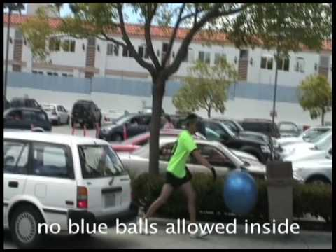Play with a big blue ball