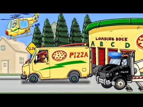 Pizza Trucks Cartoons For Children   Construction Vehicles for Children - Truck Videos For Kids