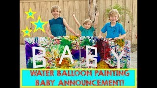 CREATIVE BABY ANNOUNCEMENT BY BIG BROTHERS WATER BALLOON PAINTING