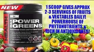 POWER GREENS - New Super Greens Fruit & Vegetable Powder Supplement by Max Muscle 2015