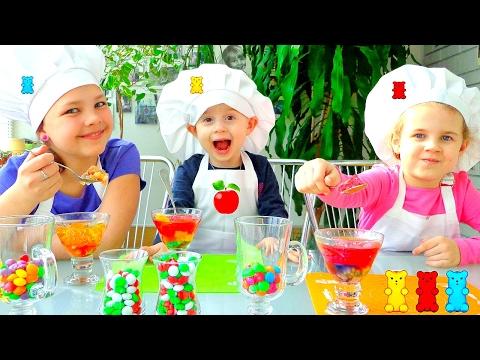 Желейные десерты для детей. Развивающее видео.