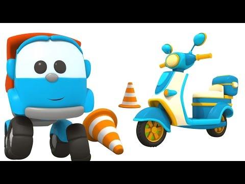 Грузовичок Лёва - машинки конструктор - Собираем скутер - Развивающий мультфильм для детей