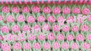 Bicolor Knitted Pattern. Garden of Tulips🌷🌷🌷🌷🌷🌷🌷 pattern for Kids Garments, Blankets.