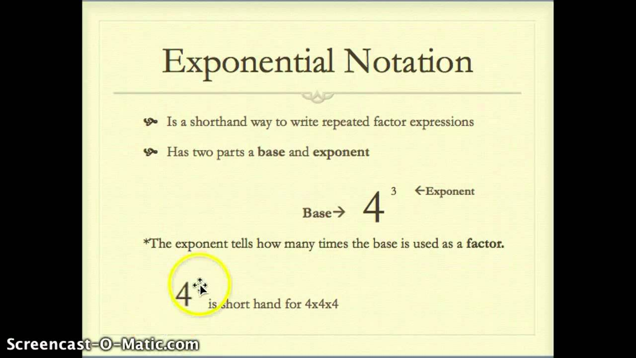 Exponential Notation Youtube