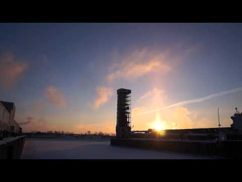 Sun Pillar At Sunrise In Montreal's Old Port Thursday January 22, 2014 00019