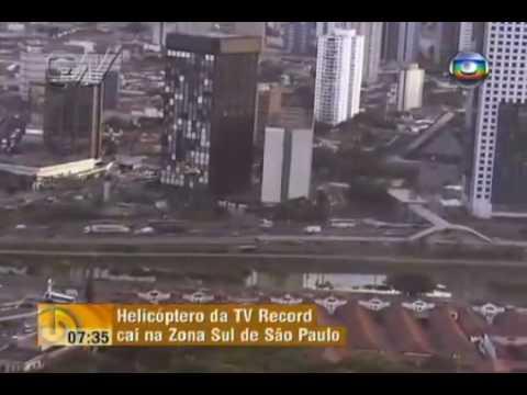 """Queda do """"Aguia Dourada"""" - Helicoptero da Record em SP"""