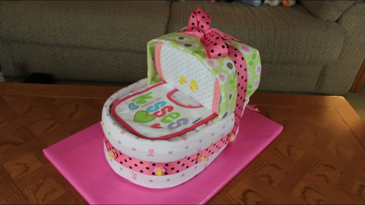 How To Make A Baby Cradle Diaper Cake