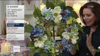 "22"" Hydrangea and Berry Wreath by Valerie on QVC"