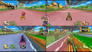 Mario Kart Double Dash!!: Baby Park 4 player Netplay race 60fps