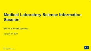 Medical Laboratory Science Info Session 2018