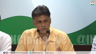 LIVE: AICC Press Briefing By Manish Tewari at Congress HQ