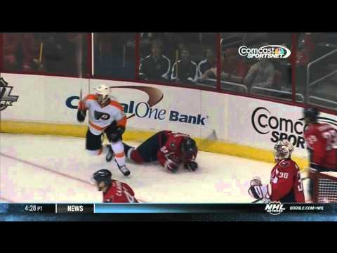 Zach Rinaldo elbowing major Mikhail Grabovski Philadelpia Flyers vs Washington Capitals 9/27/13 NHL