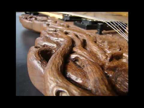 Alice In Wonderland Carved Guitar