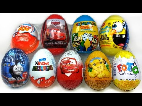 9 Surprise Eggs Unboxing. Kinder Zaini Cars 2 Spongebob Thomas...