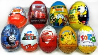 9 Surprise Eggs Unboxing, Kinder Zaini Cars 2 Spongebob Thomas...