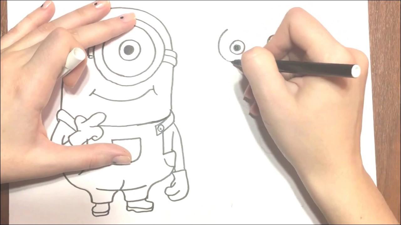 Как рисовать миньона с подарком 65