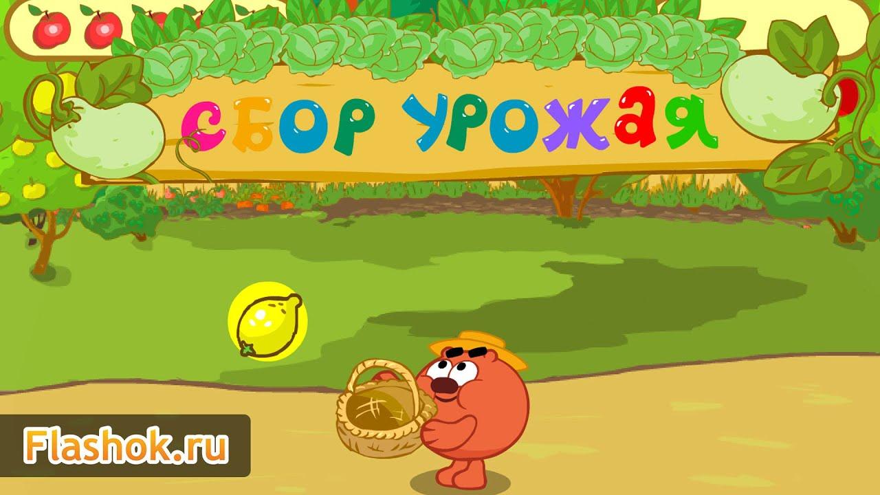 Flashok ru: онлайн игра Смашарики: Сбор урожая. Обзор игры Kikoriki (Harvest).