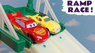 Disney Cars Toys McQueen ramp race with Thomas and Friends Ace and Hot Wheels Cars TT4U