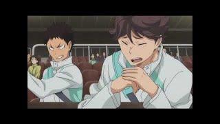 "Iwaizumi saying ""Oikawa"" and Oikawa saying ""Iwa-chan"""