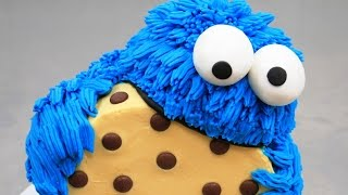COOKIE MONSTER CAKE  Buttercream Piping How To by CakesStepbyStep
