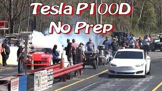Tesla P100D Enters NO PREP Drag Race!