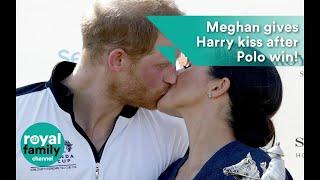 Meghan, Duchess of Sussex, gives Prince Harry big kiss after Sentebale Polo Cup win