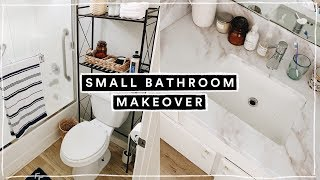 MINI SMALL BATHROOM MAKEOVER + ORGANIZATION HACKS 2019