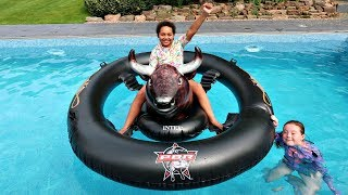 TIANA'S CRAZY BULL WIPEOUT SWIMMING POOL CHALLENGE!!