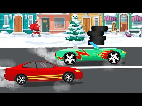 Green and Red Cars Winter Racing for Kids – Yellow Fix Truck and Excavator Help Town – Kids Video