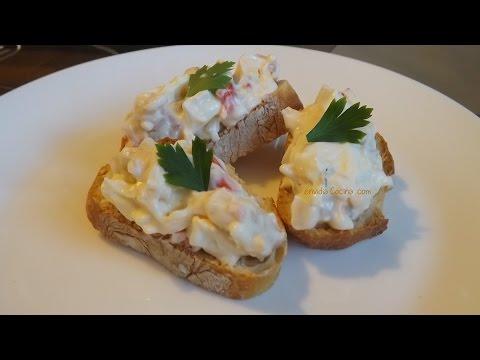 Tapa de Palitos de Cangrejo con Mayonesa y Huevo, Receta de Canapé Fácil y Rápida @envidiacocina 17