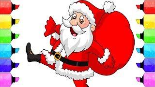 Tô màu ông già noel vui tính đi tặng quà paint colouring pages santa claus merry christmas song kids