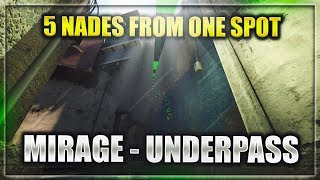 5 Useful Nades From ONE SPOT ►UNDERPASS◄ ☆ CS:GO [2018]