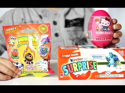 Hello Kitty Egg - Moshi Monsters Blind Bag - Monsters University Kinder Surprise - Cool Video