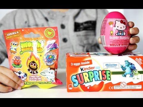 Hello Kitty Egg - Moshi Monsters Blind Bag - Monsters University Kinder Surprise