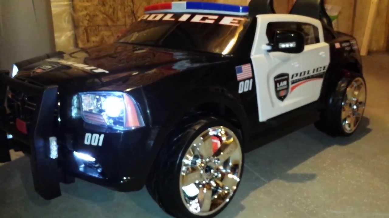modified kid trax police charger w led lights youtube