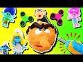 Smurfs & Trolls Fidget Spinner Game Play-Doh Drill N Fill Gargamel! Smurfette, Poppy, Branch & Slime