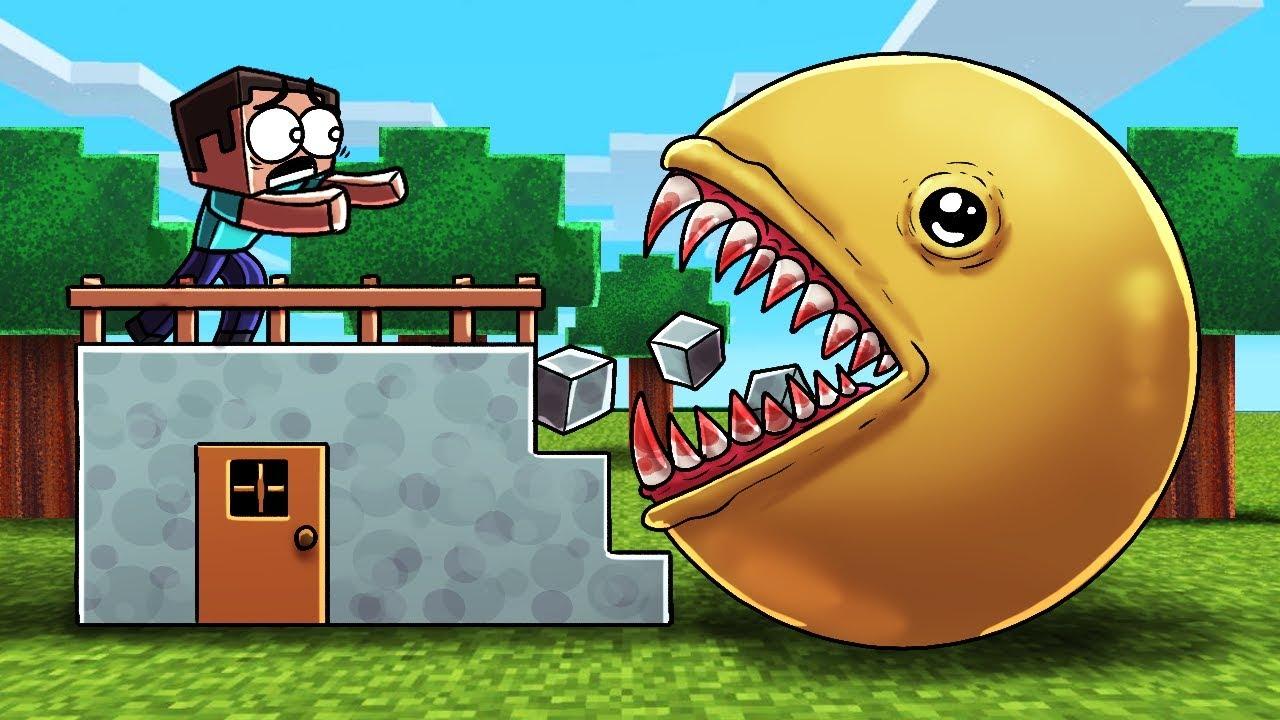 Minecraft   KILLER PACMAN BASE CHALLENGE! (Base vs Pacman.EXE)