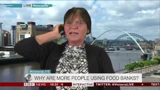 Woman using food-banks  breaks down on live TV