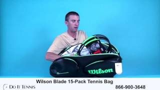 Wilson Blade 15-Pack Tennis Bag  (Black/Green)