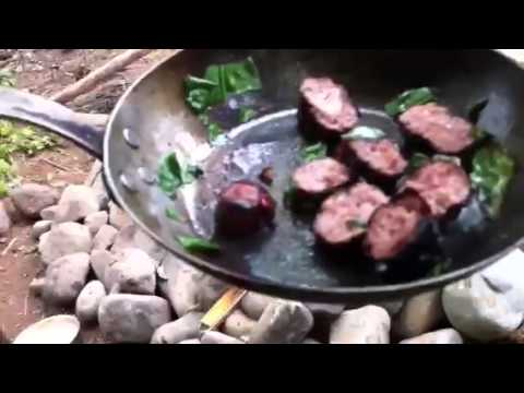 Camp fire cooking sausage wild garlic omelette