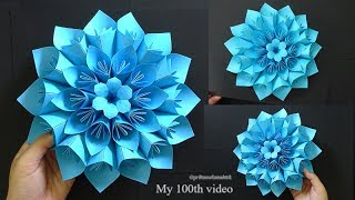 Origami Paper Flower tutorial, Giant paper flower, 100th video 😍😋💐