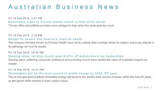 Business News Headlines for 15 Feb 2019 - 6 PM Edition