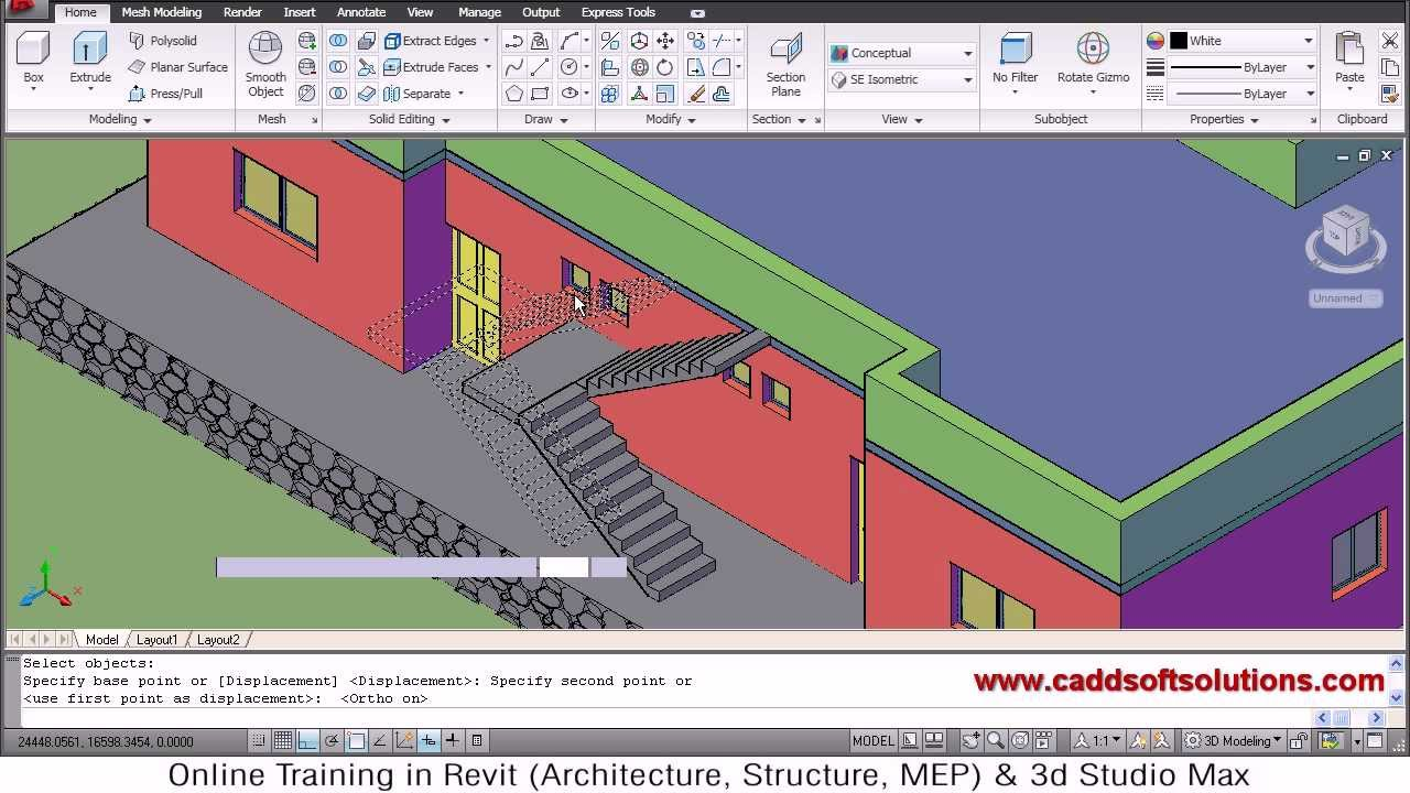 Autocad 3d house modeling tutorial 7 3d home 3d for In plan 3d