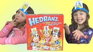 Kids Play Hedbanz Game for Family Game Night Fun with Sisters Ava & Isla