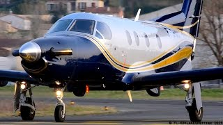 Great looking Pilatus PC-12/45 F-GRAJ startup & takeoff at Albi [LBI/LFCI]