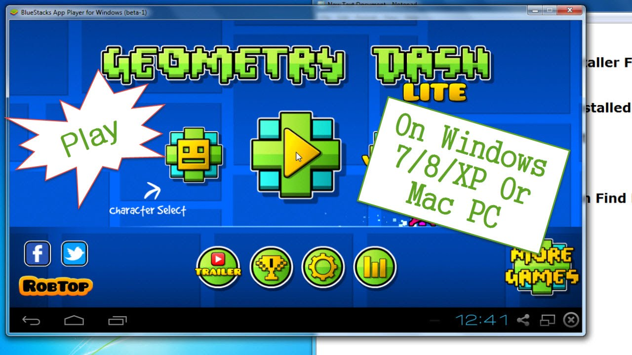 How to Play Geometry Dash Apk on PC Windows 7/8/XP - YouTube