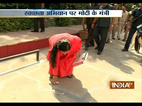 Uma Bharti participates in cleanliness drive at Delhi's Shram Shakti Bhawan