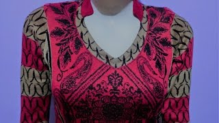 Kurti collar neck cutting and stitching | kurti cutting and stitching