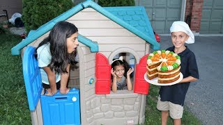 Cake Delivery to our Playhouse from Bakery shop ! Kids Fun Video